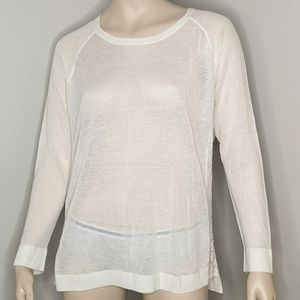 Kensie Hi-Lo Sweater Lace Detail Round Neck Ivory